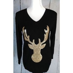 Holiday Deer Sequin Sweater NWT